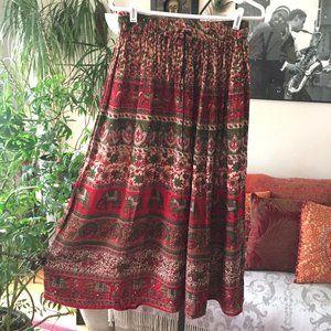 Dresses & Skirts - Elephants Print Boho Maxi Skirt Bells